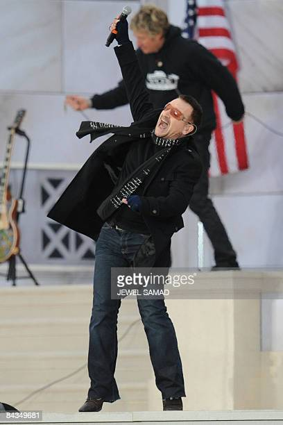 Bono of Irish performs at the 'We Are One' concert one of the events of US presidentelect Barack Obama's inauguration celebrations at the Lincoln...