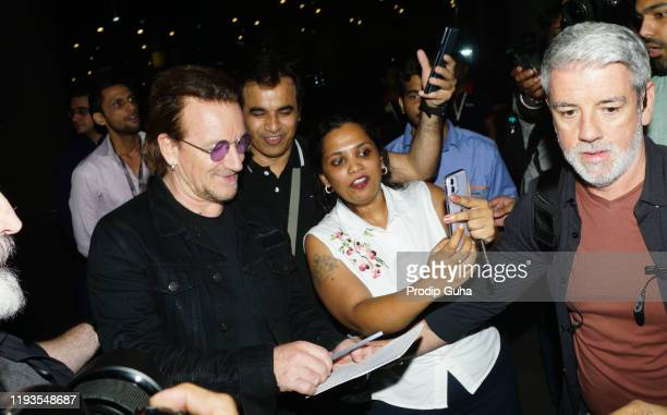 Bono of Irish rock band U2 arrived Mumbai internation airport for the Joshua Tree Tour on December 12 2019 in Mumbai India U2 band will perform at DY...
