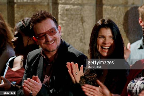 Bono of rock band U2 and his wife Ali Hewson attend the launch of Archbishop Desmond Tutu's biography 'Tutu The Authorised Portrait' the day before...