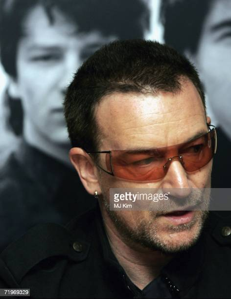 Bono of rock group U2 appears at a signing of their new book 'U2 by U2' at Waterstones Piccadilly on September 22 2006 in London England