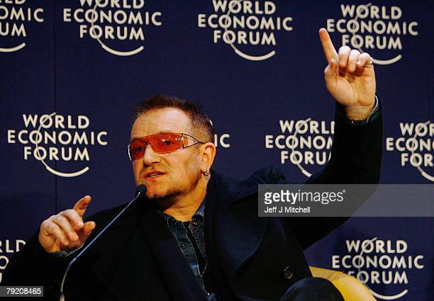 Bono of the rock band U2 attends a press conference during the third day of the World Economic Forum on January 25 2008 in Davos Switzerland Some of...