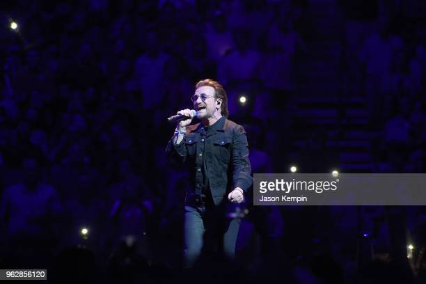 Bono of the rock band U2 performs at Bridgestone Arena on May 26 2018 in Nashville Tennessee