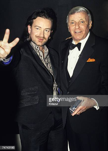 Bono of U2 and Frank Sinatra at the Radio City Music Hall in New York City New York