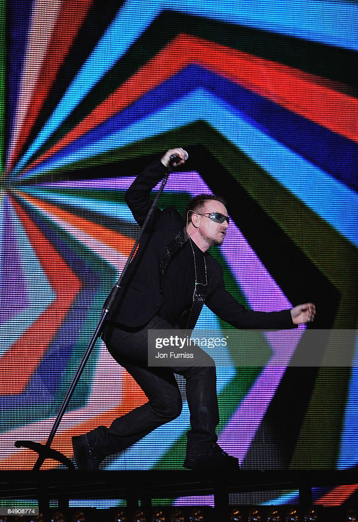 Bono of U2 appears on stage at the Brit Awards 2009 at Earls Court on February 18, 2009 in London, England.