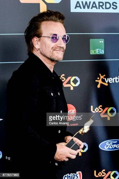 Bono of U2 attends the 40 Music Awards press room at WiZink Center on November 10 2017 in Madrid Spain