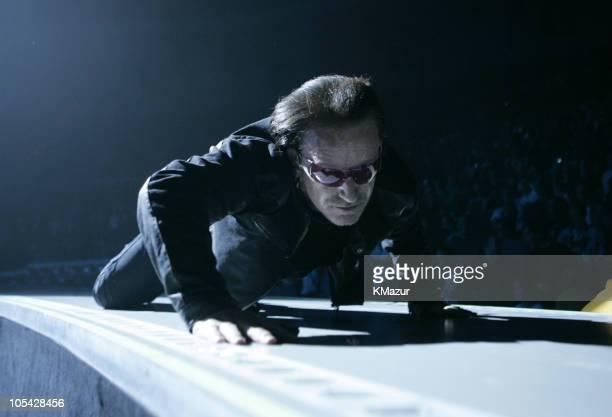 Bono of U2 during U2 'Vertigo//2005' World Tour Opener San Diego at San Diego Sports Arena in San Diego California United States
