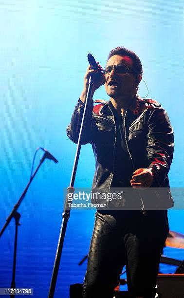Bono of U2 headlines the Pyramid stage during the second day of Glastonbury Festival 2011 at Worthy Farm on June 24, 2011 in Glastonbury, United...