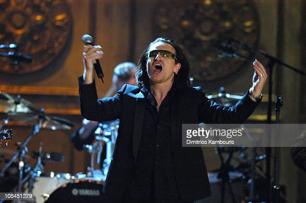 Bono of U2 inductee during 20th Annual Rock and Roll Hall of Fame Induction Ceremony Show at Waldorf Astoria in New York City New York United States