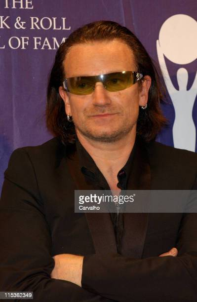 Bono of U2 inductee during 20th Annual Rock and Roll Hall of Fame Induction Ceremony Press Room at Waldorf Astoria Hotel in New York City New York...