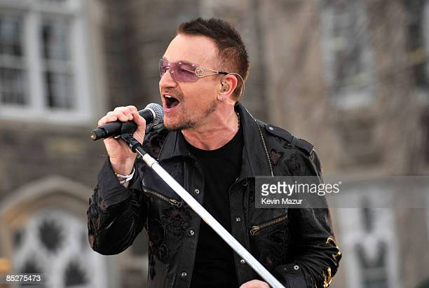 Bono of U2 perform on ABC's 'Good Morning America' at Fordham University on March 6 2009 in the Bronx New York