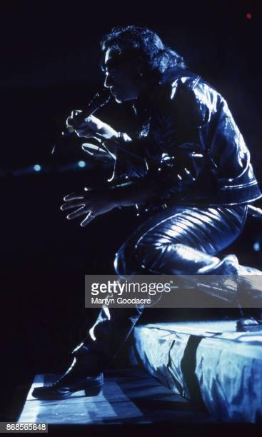 Bono of U2 perform on stage on the Zoo TV Tour, Estadio Jose Alvalade, Lisbon, Portugal, 15 May 1993.