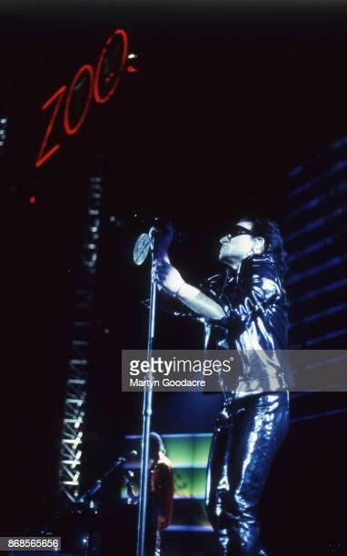Bono of U2 perform on stage on the Zoo TV Tour Estadio Jose Alvalade Lisbon Portugal 15 May 1993