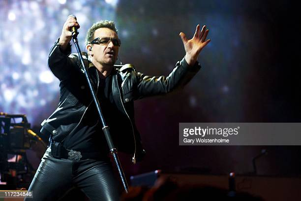 Bono of U2 perform on The Pyramid Stage during the second day of Glastonbury Festival 2011 at Worthy Farm on June 24, 2011 in Glastonbury, United...