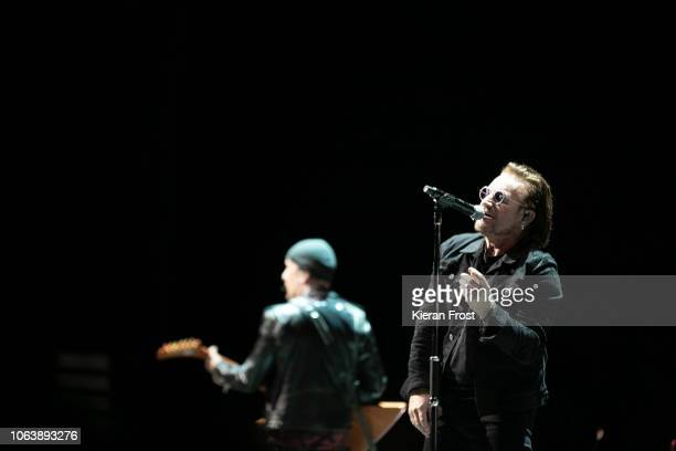 Bono of U2 perform the first of four homecoming shows at the 3Arena Dublin on November 05 2018 in Dublin Ireland