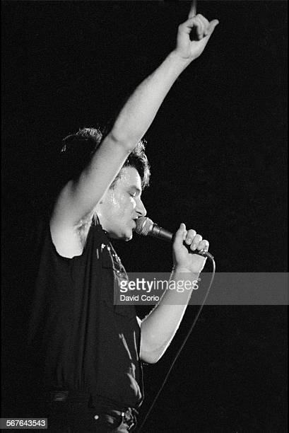 Bono of U2 performing at Hammersmith Odeon London United Kingdom on 21 March 1983