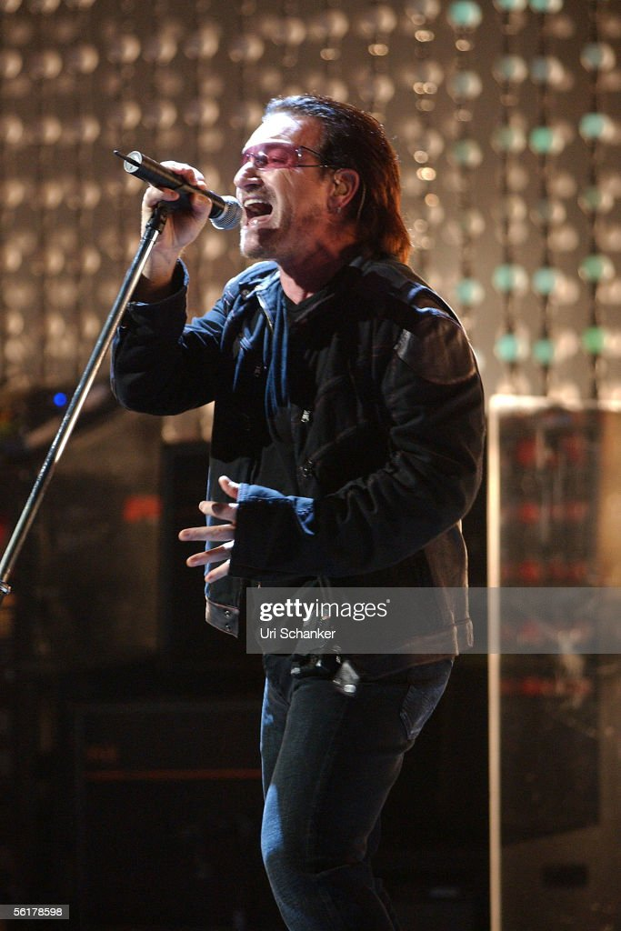 Bono of U2 performing live, at the American Airlines Arena
