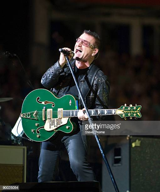 Bono of U2 performs at Millennium Stadium on August 22 2009 in Cardiff Wales