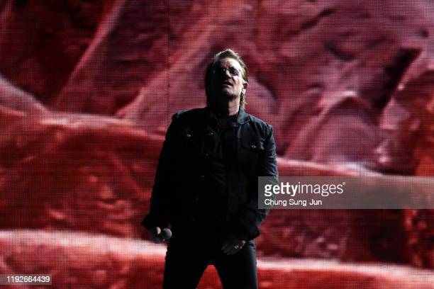 Bono of U2 performs at the Gocheok Sky Dome on December 08 2019 in Seoul South Korea