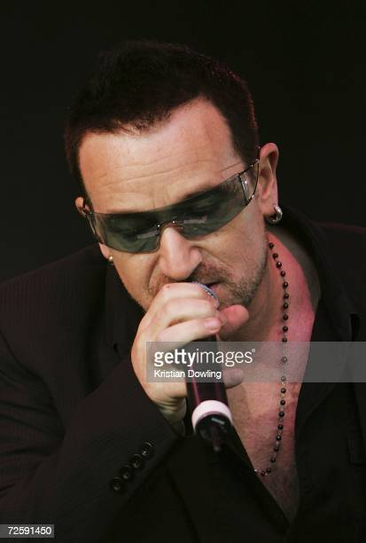 Bono of 'U2' performs at the Make Poverty History concert at the Sidney Myer Music Bowl on November 17 2006 in Melbourne Australia The Concert is...