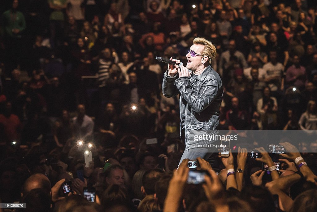 Bono of U2 performs at The O2 Arena on October 25, 2015 in London, England.