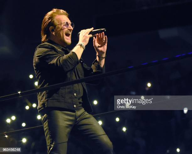 Bono of U2 performs during the eXPERIENCE + iNNOCENCE TOUR at Infinite Energy Arena in Duluth, GA