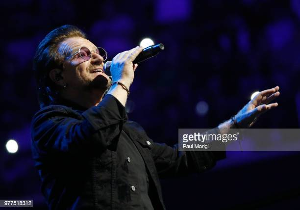 Bono of U2 performs during the eXPERIENCE iNNOCENCE TOUR at the Capital One Arena on June 17 2018 in Washington DC