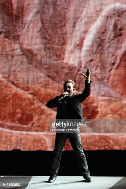Bono of U2 performs during The Joshua Tree Tour 2017 at University of Phoenix Stadium on September 19 2017 in Glendale Arizona
