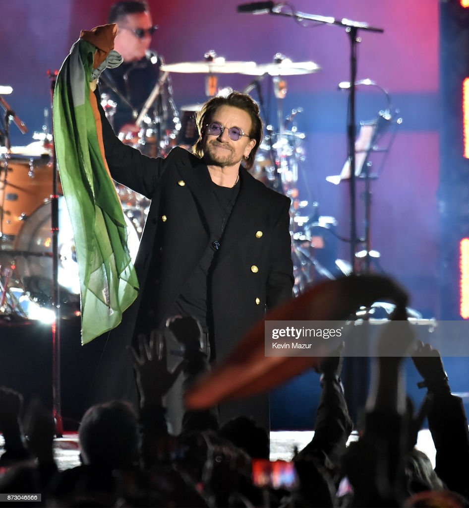 Bono of U2 performs during the World Stage event as part of the MTV EMAs 2017 at Trafalgar Square on November 11, 2017 in London, England.