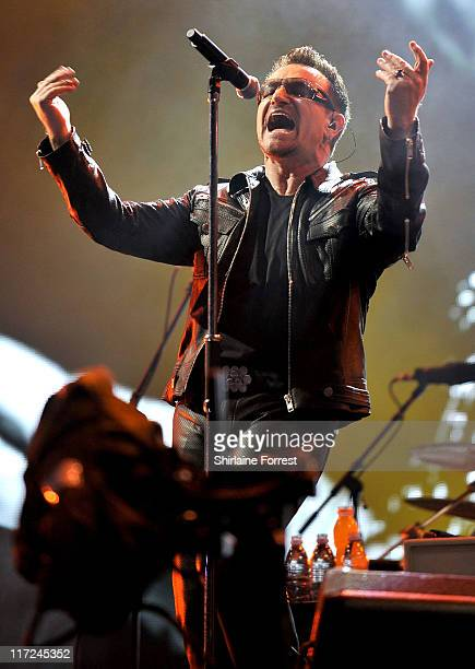 Bono of U2 performs headlining the Pyramid Stage on day two of Glastonbury Festival at Worthy Farm on June 24, 2011 in Glastonbury, England.