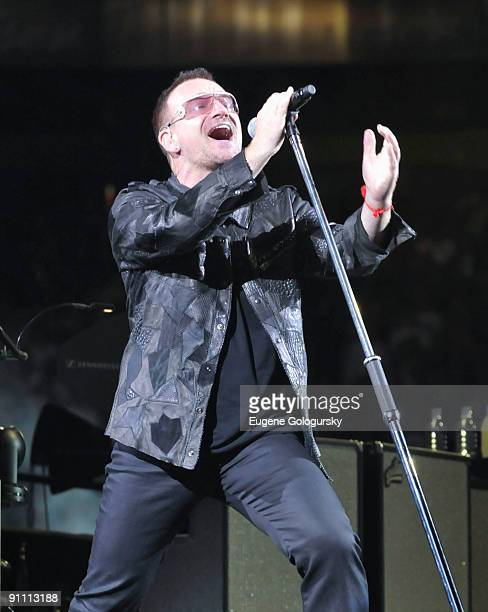 Bono of U2 performs in concert at Giants Stadium on September 23, 2009 in East Rutherford, New Jersey.