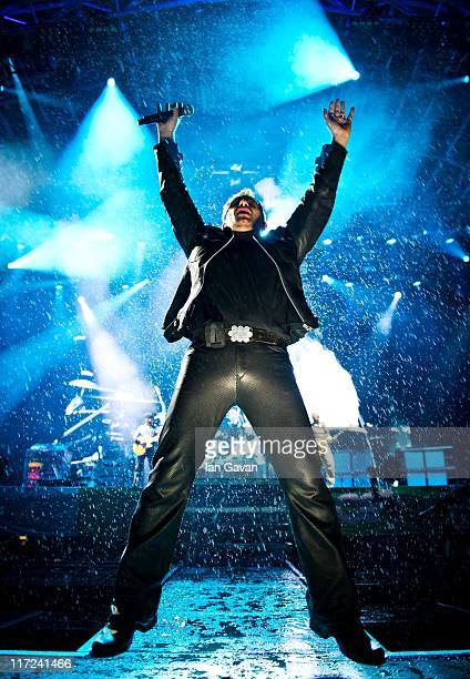 Bono of U2 performs live on the pyramid stage during the Glastonbury Festival at Worthy Farm Pilton on June 24 2011 in Glastonbury England