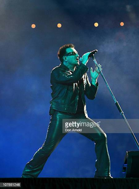 Bono of U2 performs on stage at ANZ Stadium on December 13 2010 in Sydney Australia