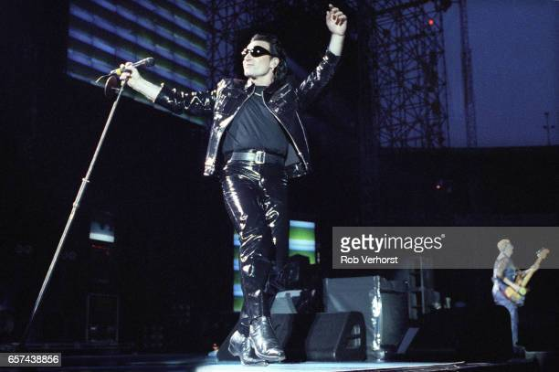 Bono of U2 performs on stage at Feyenoord Stadiium on the Zoo TVZooropa Tour De Kuip Rotterdam Netherlands 9th May 1993