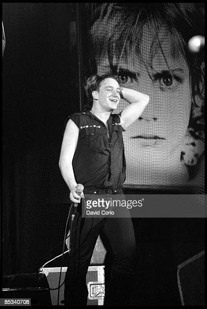 Bono of U2 performs on stage at Hammersmith Odeon London 14th March 1983