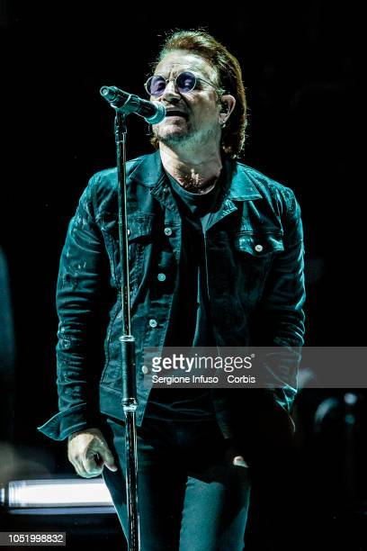 Bono of U2 performs on stage at Mediolanum Forum on October 12 2018 in Milan Italy