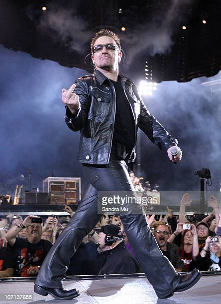 Bono of U2 performs on stage at Mt Smart Stadium on November 25 2010 in Auckland New Zealand