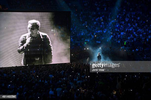 Bono of U2 performs on stage at Palau Sant Jordi on October 5 2015 in Barcelona Spain