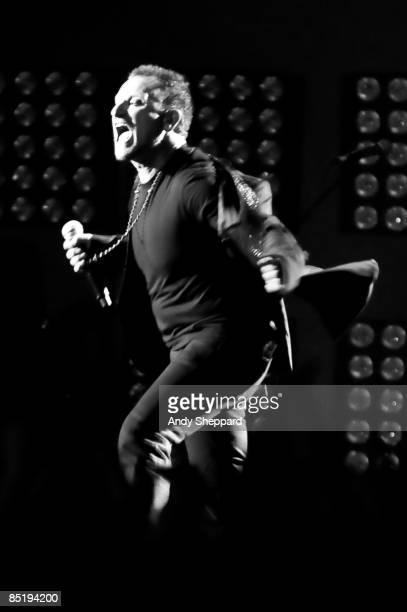 Bono of U2 performs on stage at the 2009 Brit Awards held at Earls Court on February 18 2009 in London