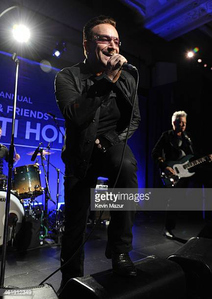 Bono of U2 performs on stage at the 3rd annual Sean Penn Friends HELP HAITI HOME Gala benefiting J/P HRO presented by Giorgio Armani at Montage...