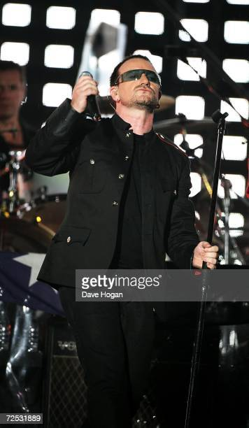 Bono of U2 performs on stage at the first of three rescheduled Sydney dates on their Vertigo Tour at the Telstra Stadium on November 10 2006 in...