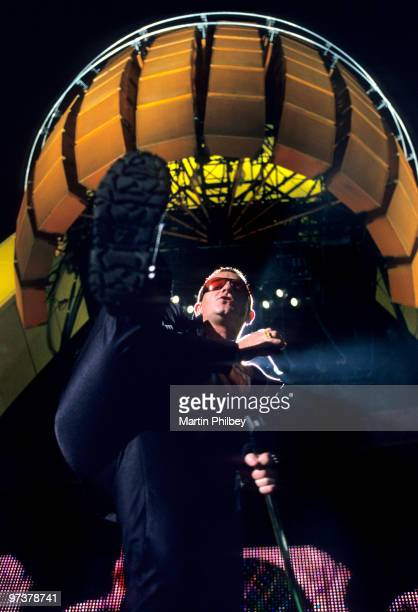 Bono of U2 performs on stage at Waverley Park on an unknown date in 1998 in Melbourne Australia