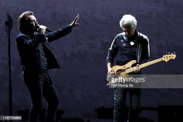 Bono of U2 performs on stage during 'U2 The Joshua Tree Tour 2019' at the Gocheok Sky Dome on December 08 2019 in Seoul South Korea