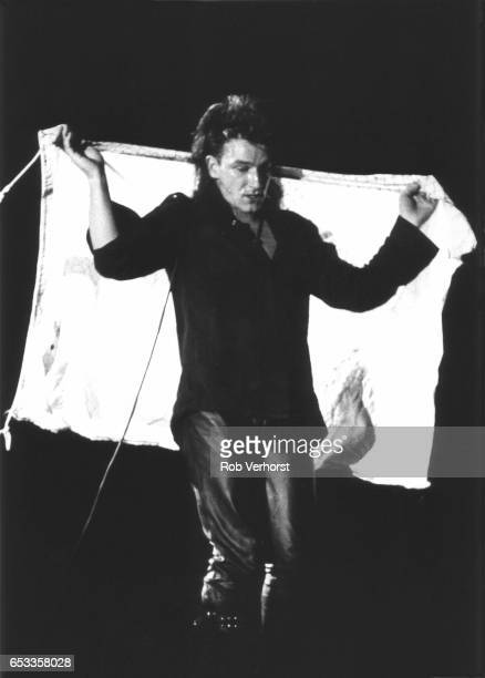 Bono of U2 performs on stage on The Unforgettable Fire Tour Ahoy Rotterdam Netherlands 30th October 1984