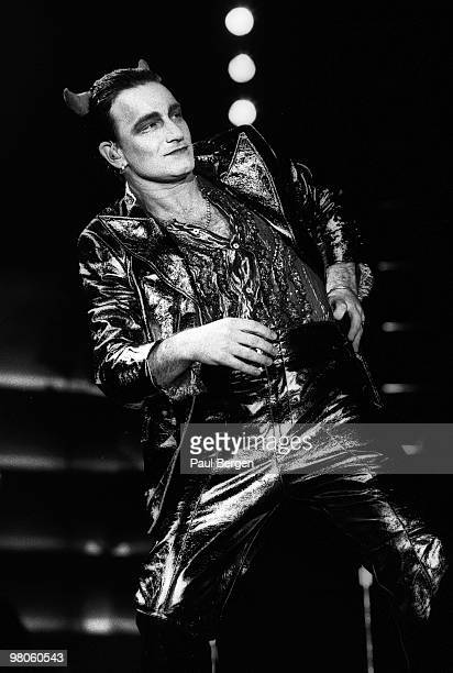 Bono of U2 performs on stage on the Zooropa Tour at Kuip on May 10th 1993 in Rotterdam Netherlands He is dressed as MacPhisto character