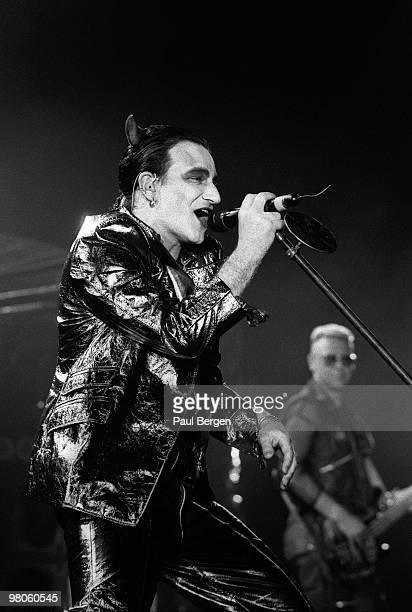 Bono of U2 performs on stage on the Zooropa Tour at Kuip on May 10th 1993 in Rotterdam, Netherlands. He is dressed as MacPhisto character.