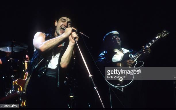 Bono of U2 performs on stage with BB King on LoveTown Tour Ahoy Rotterdam Netherlands 7th January 1990