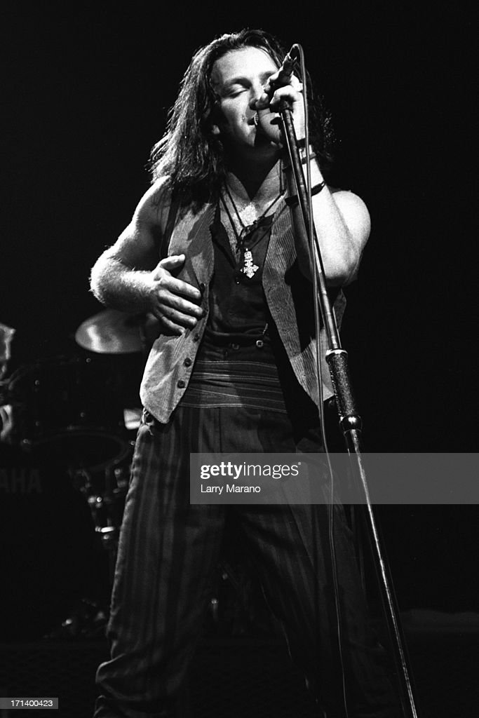 Bono of U2 performs on the Joshua Tree Tour at Nassau Coliseum on October 9, 1987 in Uniondale NY. (Photo By Larry Marano).