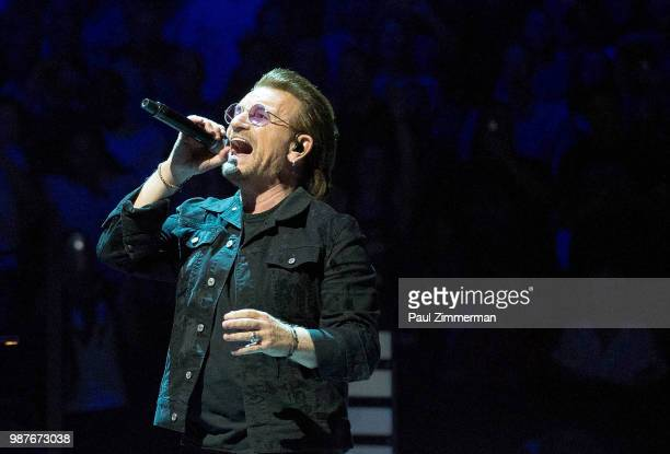 Bono of U2 performs onstage during the eXPERIENCE iNNOCENCE TOUR at Prudential Center on June 29 2018 in Newark New Jersey