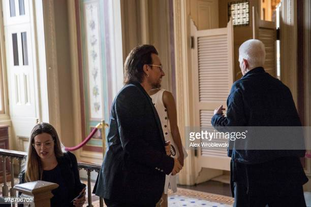 Bono of U2 walks through at the US Capitol on June 19 2018 Bono is Washington to meet with lawmakers