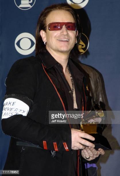 Bono of U2 winners of Best Rock Performance by a Duo or Group with Vocal for 'Vertigo' Best Short Form Music Album for 'Vertigo' and Best Rock Song...